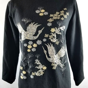 Boohoo Beige Bird Stitched Black Sweater Size 4